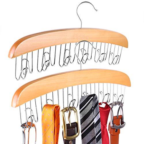 Belt Hanger Ohuhu Wooden Belt Rack Belt Holder Belt Organizer for Closet Tie and Belt Rack 12 Belt Hooks for Belts Neck Ties WatchesSunglasses and More 2 Pack