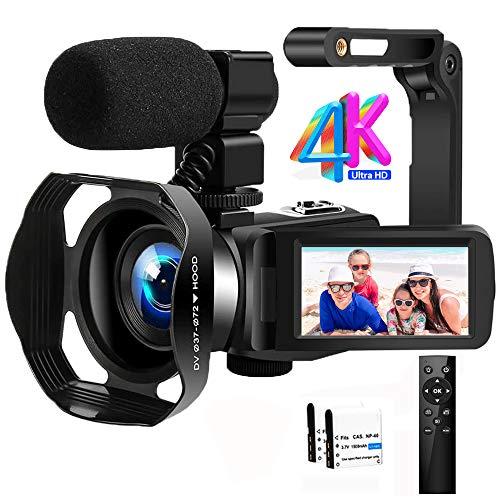 """Videocamara Cámara de Video 4K Ultra HD 48MP Vlogging Youtube Cámara IR Visión Nocturna Zoom Digital 18X Digital Videocámara con Micrófono, WiFi, Estabilizador de Mano y Pantalla Táctil de 3.0"""""""