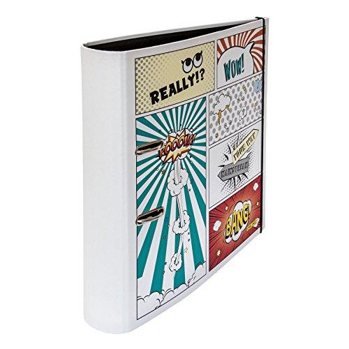 Online Schreibgeräte - Ordner Comic Style DIN A4, mit Rundrücken, 8,5 cm breit, mit Gummiband