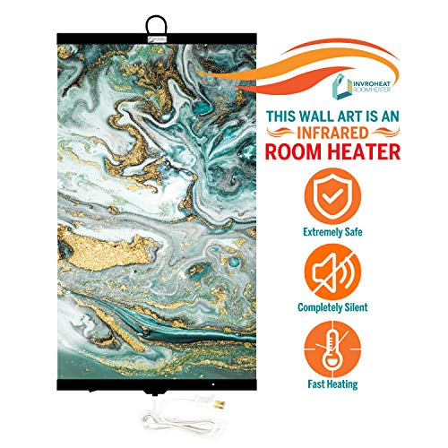 Invroheat - Decorative Wall Hanging Infrared Space Heater/Portable Heater 430W Perfect for Home or Office - Agate Abstract Design Heater Portable Space