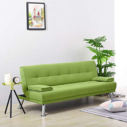 Wellgarden 3 Seater Sofa Bed Sleeper Sofa Couch Fabric Sofabed Modern Design Sofa Single Bed with Chrome Leg (Green)