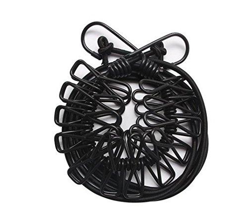 Fhodigogo Cuerdas para Tender la Ropa Portátil Tendedero Elástico Ajustable Retráctil Cuerda de Ropa con 12 Pinzas Acampar al Aire Libre e Interior Línea de Secado de Ropa de lavandería