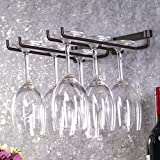 Atyhao Porta Bicchiere da Vino Portabottiglie in Metallo da Appendere Portabottiglie a Doppio Calice Bicchiere in Vetro Portabottiglie invertito