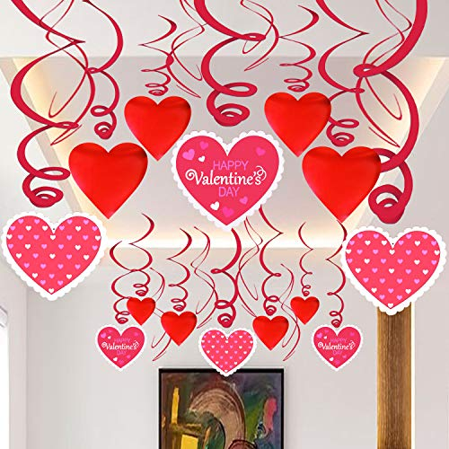 Hanging Swirl Heart for Valentines Day - Pack of 36 | Red and Pink Hanging Heart Decorations | Valentine Day Swirl Decorations | Valentine Hanging Decorations for Ceiling, Window and Love Decorations