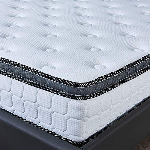 LANKOU 4ft6 4FT6 Double Mattress Breathable Bamboo Soft Fabric with Pocket Sprung Mattresses and Memory Foam Pressure Relief with Multi-Functional 9-Zone Support System,Depth 26 cm, Medium - Firm