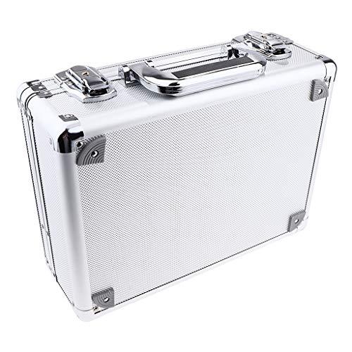 Bonarty Caja de Transporte de La Caja de La Máquina Del Arte Corporal Del Tatuaje Del Viaje de Aluminio con La Cerradura - Blanco