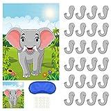 PLULON Ponle la nariz al elefante Juego de fiesta con 24 piezas Pegatinas nariz de elefante para suministros de fiesta de cumpleaños para niños, Fiesta de animales Fiesta de carnaval Suministros