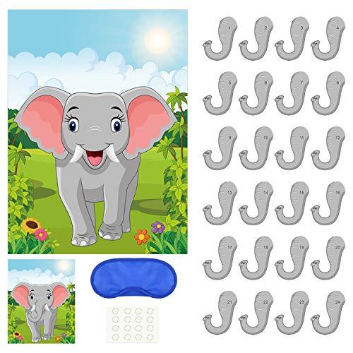 PLULON Stecke die Nase in den Elefanten Party-Spiel mit 24St Elefantennasenaufkleber für Kindergeburtstagsfeierzubehör, Tierparty Karneval Partyzubehör