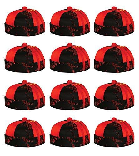 Beistle 60582 Quasten- / Narren-Haarreifen 12 Stück Mandarin Hut schwarz/red