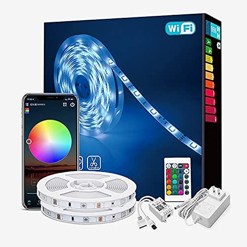 Tiras LED 20M 5050 RGB LED Strip Tira de Luces Colores Inteligente Control por Aplicación y Control Remoto Sincronización de Música,para Hogar, Habitación, Bar, FiestaDecoracion (Size : 20M)