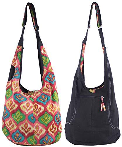 Sunsa Damen Tasche Umhängetasche Handtasche klein Baumwolle Hobo bag Teenager praktische Geschenke Bags for Women Schultertasche lässig Damentaschen sale kleine Boho Einkaufstasche Stoffbeutel schwarz