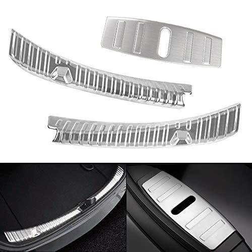 Model 3 Ladekantenschutz Edelstahl Chrom Kofferraum Stoßstangenschutz Heckstoßstange Protector Guard für Kofferraumwanne (Silber)