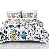 SHINICHISTAR Unicorn Flamingo Rainbow Comforter Set for Kids Teens Girls 3 Pieces Cartoon Drawing Bedding Sets Queen Size