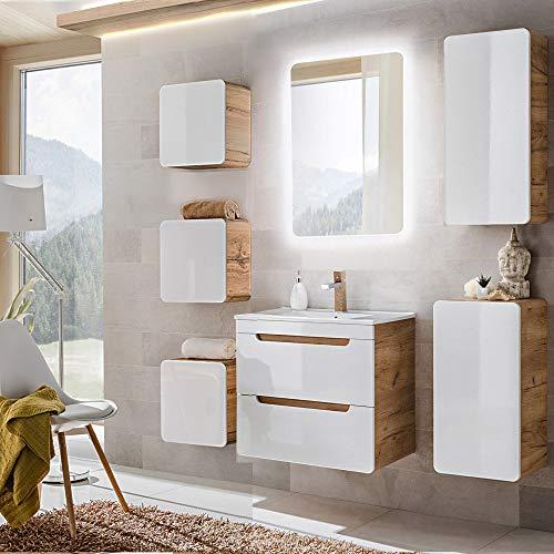 Lomadox Badezimmermöbel Komplett Set mit 60cm Waschtisch mit Unterschrank & LED-Spiegel, Hochglanz weiß mit Wotaneiche, B/H/T ca. 160/200/46cm