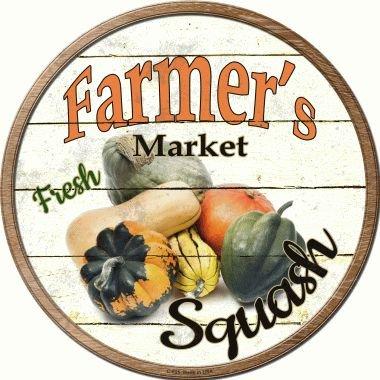 Smart Blonde Farmers Market Squash Novelty Metal Circular Sign C-625