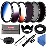 Beschoi 58 mm Kit de Filtre Gradué Orange/Bleu/Gris + Filtres Photo CPL ND4 ND8 avec...