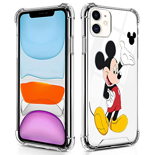 DISNEY COLLECTION iPhone 11 Case Clear 6.1 Inch 2019 Cartoons Mickey Mouse Design Hybrid TPU PC Shock Absorption Anti Scratch Crystal Case for iPhone 11