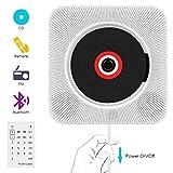 Lecteur CD, NKW Lecteur de Musique Portable à Fixation Murale avec Haut-Parleur HiFi Radio FM MP3 USB Fonction de contrôle à Distance Jack 3,5 mm pour Enfants et Personnes âgées - Blanc