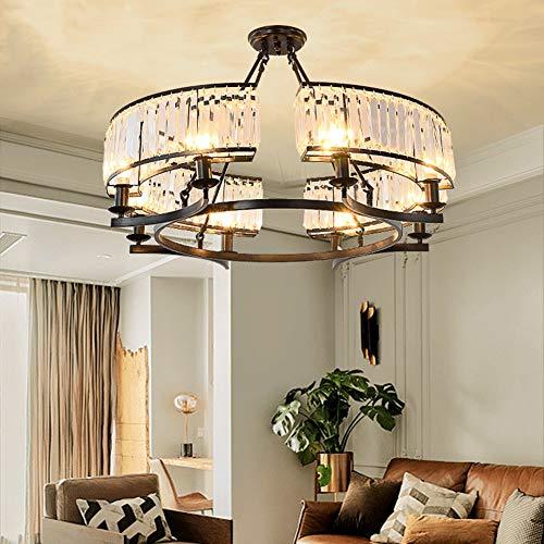 6 Lights Modern K9 Crystal Chandelier,Flush Mount Light Round Pendant Lighting Fixture Vintage Ceiling Chandeliers for Dining Room Livingroom,Dia 25.5 inch