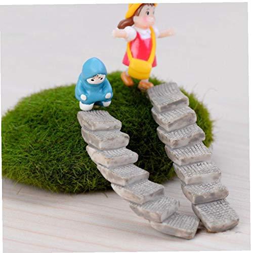 BYFRI 2pcs / Set Escalera Escaleras Figura Decorativa Mini Hada del Jardín De Dibujos Animados Estatua De Edificio Jardín Miniatura Musgo Adornos Arte De La Resina para La Decoración Casera