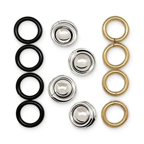 MAGGIES Snaps Revolutionary Patented Magnetic Fasteners with Silver, Gold & Black Rings, Easily Secure Fabric and Clothing, Reusable No-Sew Fashion Alternative to Pins and Clips (4 Pack)