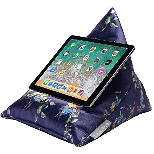 Izabela Peters Luxurious Bean Bag Cushion Tablet Stand for iPad, Kindle, Phone - Overbeck - Midnight - Shimmer Velvet - Range of Designs & Colours