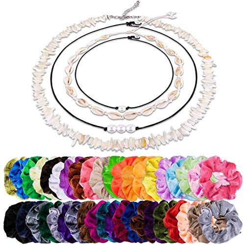 Duufin 44 Pcs Shell Necklace Choker and Scrunchies Set including 4 Pcs Shell Choker Beach Necklace and 40 Pcs Velvet Hair Scrunchies for Women and Girls