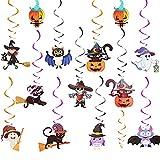 Decorazioni da appendere per Halloween, 12 pezzi Decorazione a spirale di Halloween, Stelle filanti a vortice colorate sul soffitto contengono zucca, gatto, strega, fantasma, pipistrello