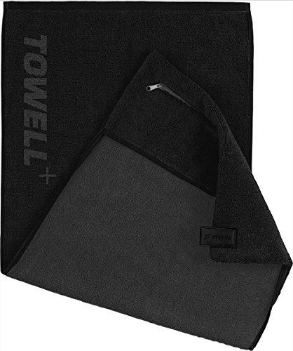 STRYVE Towell Plus V2 Sporthandtuch mit Tasche und Magnetclip, in 7 Farben Die Höhle der Löwen (Schwarz All Black) Gym Handtuch TOWELL+