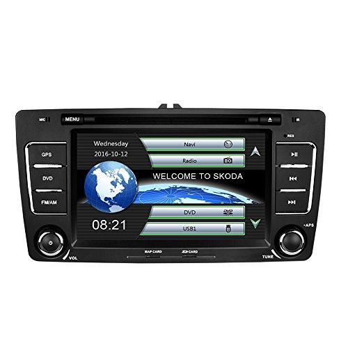AUMUME 2 Din Autoradio mit Navi für Skoda Octavia 2009-2013 mit Wince System DVD Player GPS Navigation Radio Bluetooth unterstützt Park Kamera Lenkrad Bedienung 1080P Video 8GB Kartenmaterial
