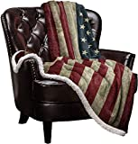US Flag Sherpa Fleece Blanket, Super Thick and Warm Cozy Luxury Blanket 60'x80', Vintage American Flag Fourth of July Independence Day Themed Bed Blanket, Fluffy Microfiber Throw Blanket for Couch