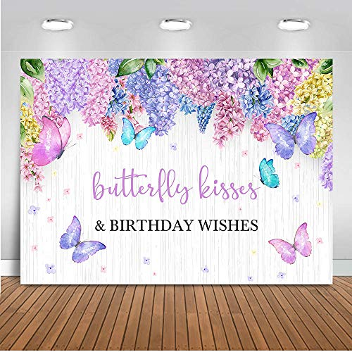 Mocsicka Purple Butterfly Birthday Backdrop Lavender Floral Butterfly Kisses Birthday Wishes Party Decorations White Wood Butterfly Party Photography Background (7'x5')