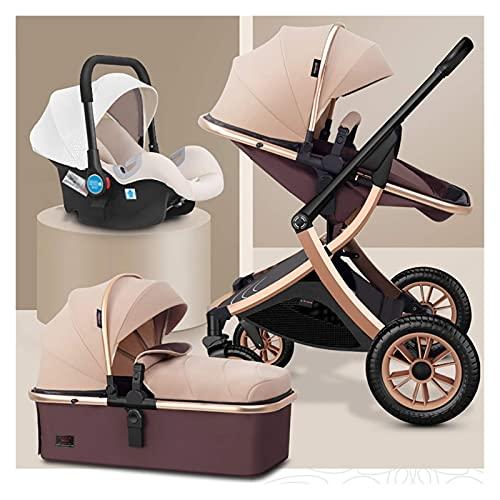 KELITINAus 3 en 1 Cochecito de Cochecito de Cochecito de Lujo Plegable de Lujo Paraguas de Paraguas Anti-Shock Springs Alta Vista Pram Cochecito de Bebé con Canasta para Bebés para Recién Nacido Y Be