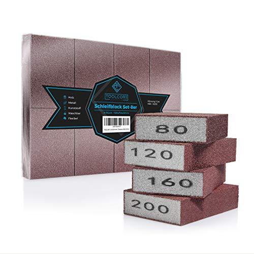 TOOLCORE® Schleifschwamm | 8 Stück - K80-200 | Flexibel & Waschbar | Holz-Metall-Kunststoff | Schleifpapier, Handschleifer, Schleifklotz,