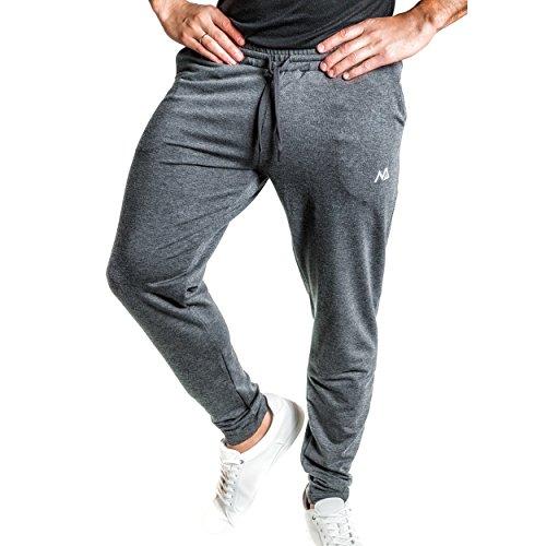 Natural Athlet Fitness Jogginghose Meliert – Herren Männer Trainingshose lang für Fitness Workout – Slim Fit Sporthose in grau Größe XL