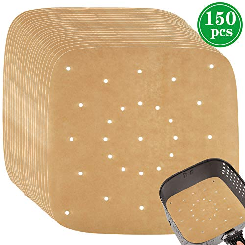 8.5 inch Air Fryer Parchment Papers,Pack of 150, Square Perforated Parchment Liner Bamboo Steamer Papers Unbleached Color
