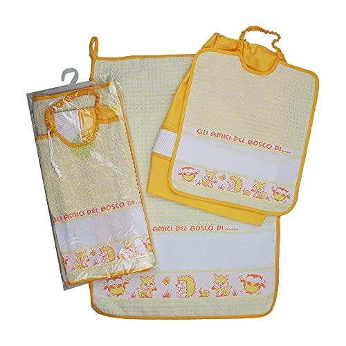 Juego de guardería escolar con colchoneta para bordar amigos del bosque, 3 piezas: babero de rizo con elástico de 28 x 32 cm, toalla de 40 x 55 cm con banda de etamina + bolsa de algodón 100 %