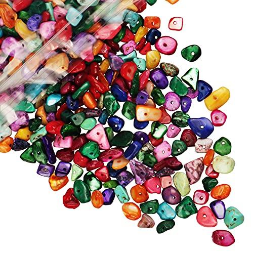 Cuentas de piedra de viruta natural multicolor 5-8 mm Aproximadamente 400 piezas Piedras preciosas irregulares Curación Perlas de roca de cristal sueltas Agujero perforado DIY para joyería de pulsera