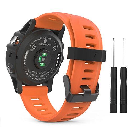 MoKo Pulsera Compatible con Garmin Fenix 3/3 HR/5X/5X Plus/D2 Delta PX/Tactix Bravo/Descent Mk1/Quatix 3, Correa de Silicona Respirable y Reemplazable, Banda de Reloj Deportivo con Cierre - Anaranjado