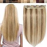 SEGO Extension Cheveux Monobande a Clip Rajout Naturel - 40 CM 12P613#Brun Doré & Blond Blanchi [ Volume Léger ] - Meche Vrai Humains Froid Remy (Une Piece 5 Clips)