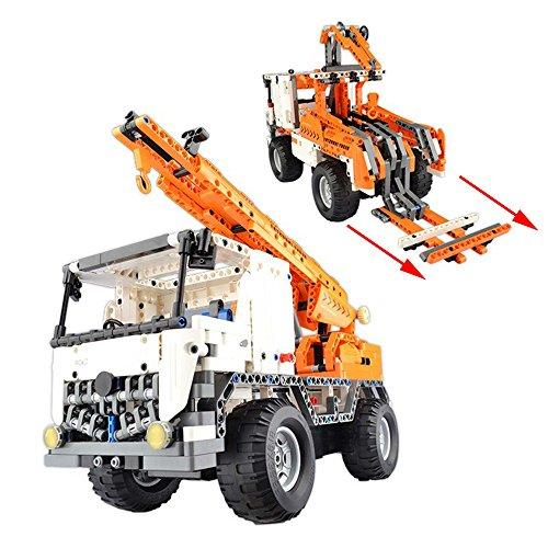 2.4GHz RC Klemmbausteine DIY ferngesteuerter 2in1 Schwerlastkran LKW Truck aus Bausteinen zum Selber bauen bauen, Komplett-Set