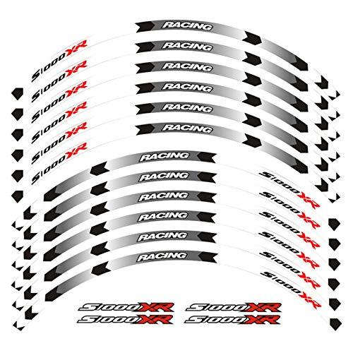 Calcomanías de la Rueda de la Motocicleta Pegatinas Reflectantes Ramillas de llanta para BMW S1000XR S1000 XR Motorbike S1000XR 7 Color (Color : D White)