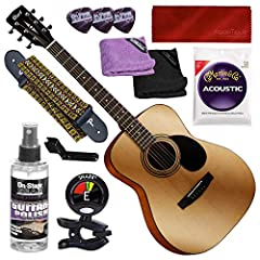 Solid instrument for beginners and enthusiasts crafted from bright yet natural mahogany Solid spruce top for perfectly balanced strength and flexibility Increased sustain and playability with a scooped surface bridge Easy fingerpicking and solo singl...