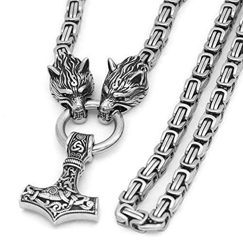 GuoShuang Men Stainless Steel Wolf Head Norse Viking Amulet Thor Mjolnir Necklace King Chain with Valknut Gift Bag (28 INCH)