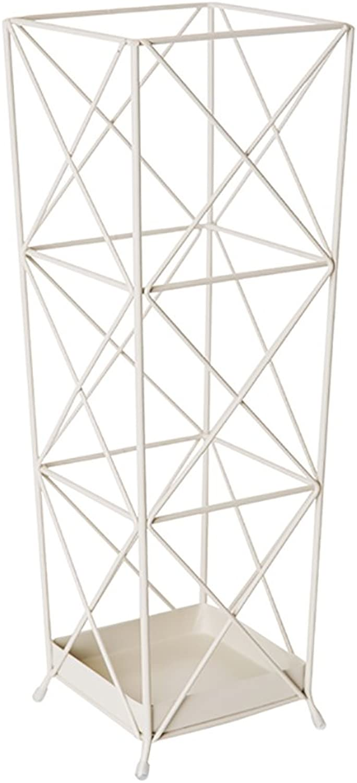 LICCC Creative Geometric Umbrella Rack,Iron Art Umbrella Stand, White, Square