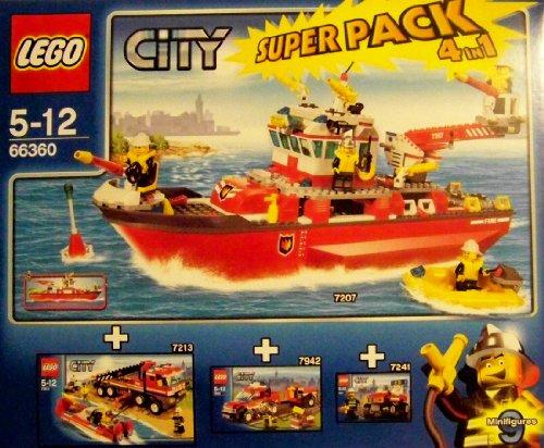 Lego CITY 66360 Feuerwehr Super Pack 4 in 1, Das Set enthält: Lego 7207 Feuerwehrboot + Lego 7213 Feuerwehr-Truck mit Löschboot + Lego 7942 Feuerwehr Pick-up + Lego 7241 Feuerwehrauto