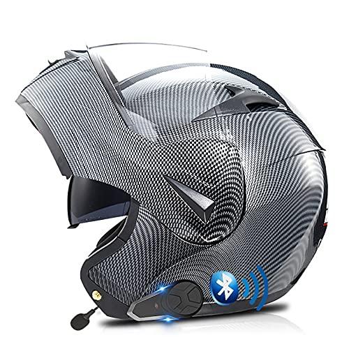 Casco de Moto Modular Integrado Bluetooth,Intercomunicador FM MP3 Incorporado Sistema de comunicación,Certificado ECE/Dot Adultos Casco Integral Modular Protector D,XS=53~54cm