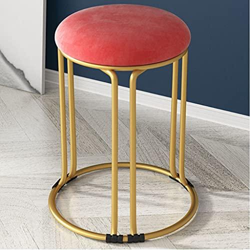 YUTRD ZCJUX Muebles para el hogar Taburete de Comedor Sillas de Sala de Estar de Cuero de Gamuza nórdica Taburetes Altos engrosados Que se Pueden apilar Taburete Redondo de Comedor (Color : Red)