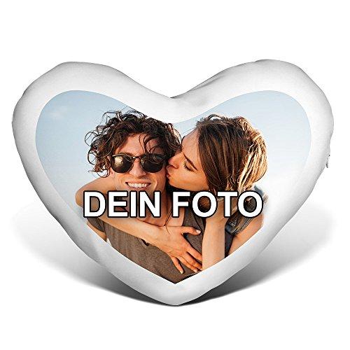 PhotoFancy® - Herzkissen mit Foto Bedrucken - Fotokissen in Herzform selbst gestalten (Herzkissen mit Foto)