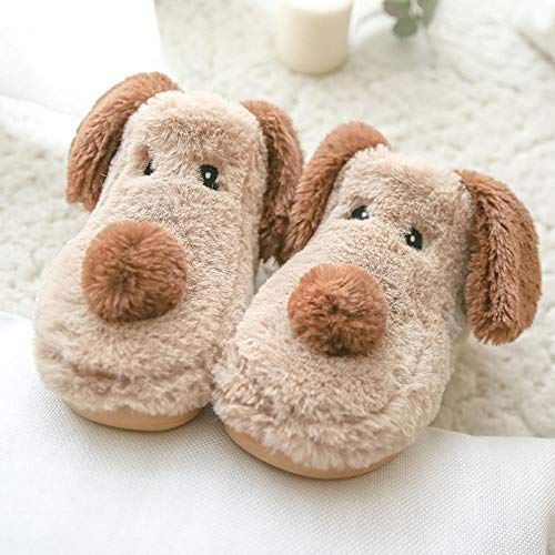 Zapatillas De Casa Mujer Cerradas,Zapatillas De AlgodóN para Cachorros Adultos para NiñOs, Bolsa CáLida para El Hogar con Zapatillas para NiñOs Antideslizantes De Suela Gruesa, Regalos De Peluche-Bei